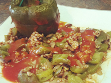 Portabella stuffed peppers